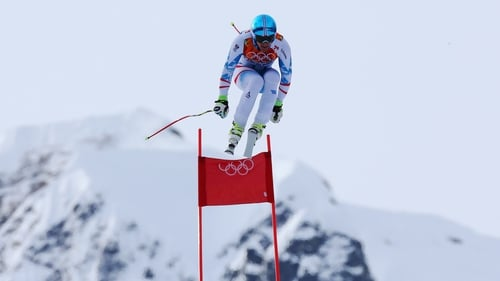 Austria's Matthias Mayer en route to securing the gold medal during the Alpine Skiing Men's Downhill at Rosa Khutor Alpine Center