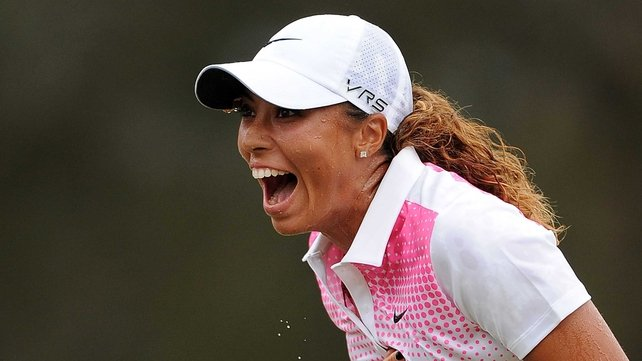 Cheyenne Woods celebrates her victory