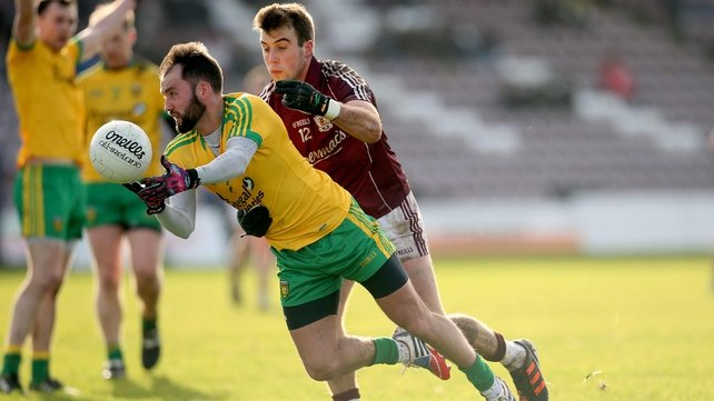 Galway's Paul Conroy and Karl Lacy of Donegal in action in Salthill