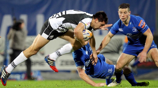 Zebre's Ruggero Trevisan is watched by Noel Reid of Leinster