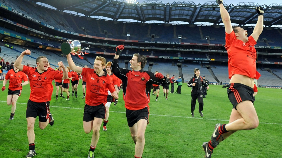 Truagh Gaels players celebrate their All-Ireland Intermediate club football success