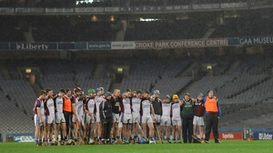 Kilnadeema-Leitrim players observe a minute's silence in Croke Park in memory of a club member, Patrick Halpin, who passed away earlier in the week