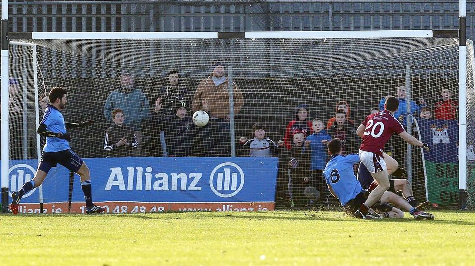 Dessie Dolan of Westmeath scores a goal against Dublin