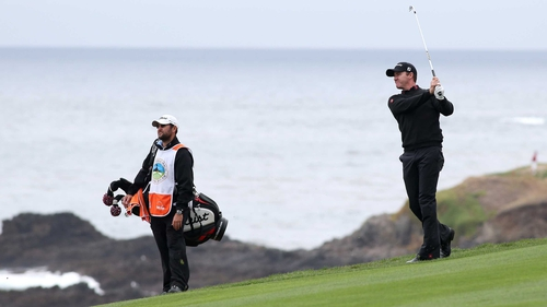 Jimmy Walker playing the ninth en route to victory at the AT&T Pebble Beach National Pro-Am
