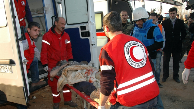 UN and Red Cross/Red Crescent staff reached Homs yesterday (Pic: EPA)