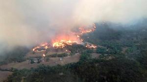 An aerial view of a fire in Bangor, South Australia