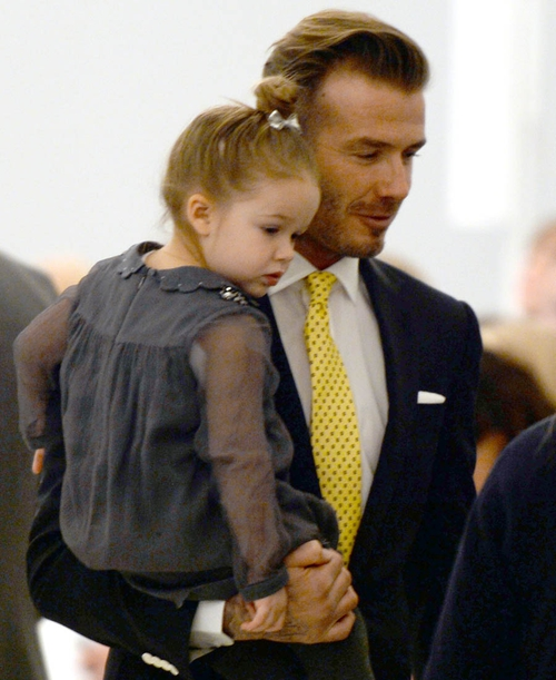 Harper and David Beckham at Victoria's New York Fashion Week show