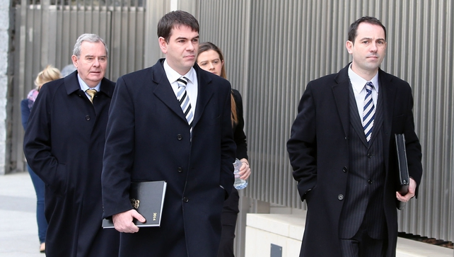 (left to right) Sean Quinn, Sean Quinn Jnr, Brenda Quinn and Niall McParland arrive for the fraud trial of former Anglo Irish Bank executives