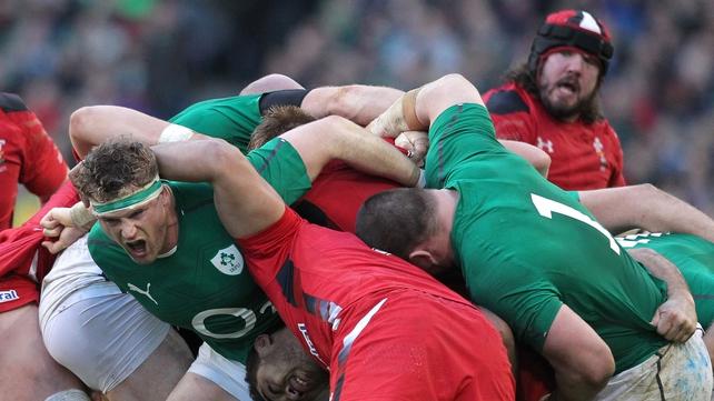 Jamie Heaslip grimaces in an Ireland maul against Wales