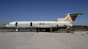 The stripped shell of a Cyprus Airways airliner (Pic: EPA)