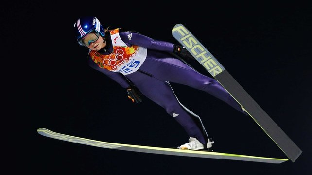 Carina Vogt soars on her way to a gold medal