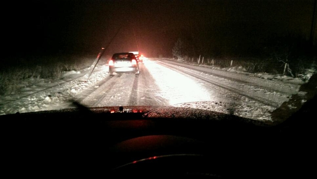 Treacherous driving conditions at Barnesmor Gap, Co Donegal (Pic: Mickey Harte)
