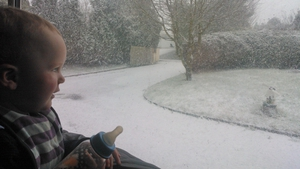 Zach checks out his first snowscape in Carrickmacross, Co Monaghan (Pic: Ramona Tobin)