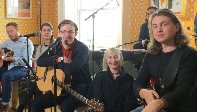 New Works reporter Cathy Davey (centre) will interview Bombay Bicycle Club on the first show of the new series