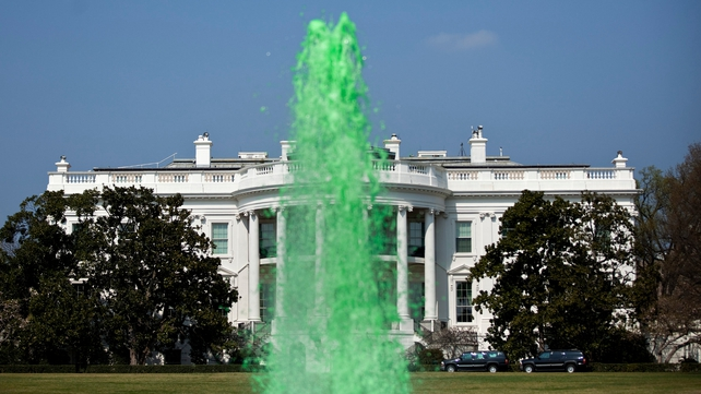 The fountain at the White House was also turned green