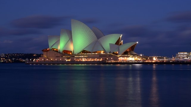 Australia's iconic Sydney Opera House is lit with green lights to mark St Patrick's Day 2013