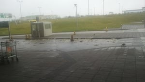 Debris from the roof of Cork Airport