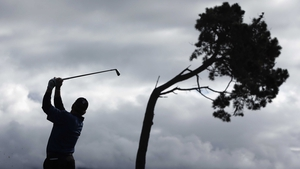 Woody Austin hits a tee shot at the AT&T Pebble Beach National Pro-Am in Pebble Beach, California