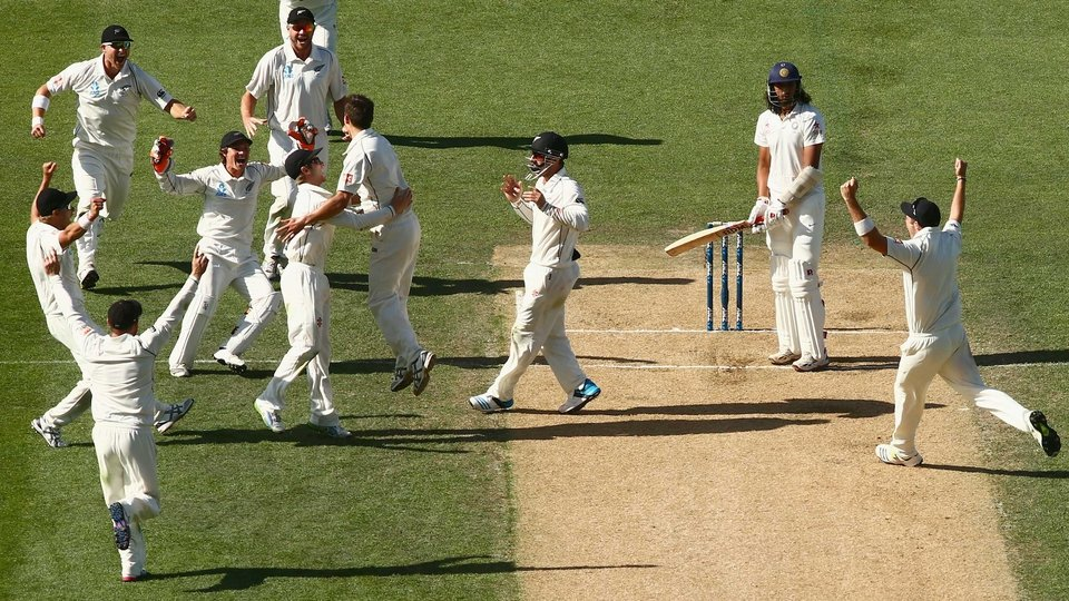New Zealand celebrate the final wicket of Ishant Sharma during the First Test against India at Eden Park, Auckland