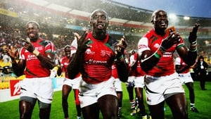 Kenya celebrate after winning the bowl final against Scotland at Westpac Stadium in Wellington, New Zealand