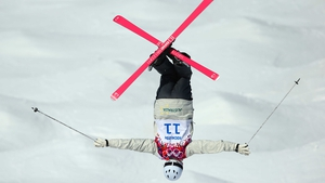 Dale Begg-Smith practices during an official training session ahead of the Winter Olympics at Rosa Khutor Extreme Park