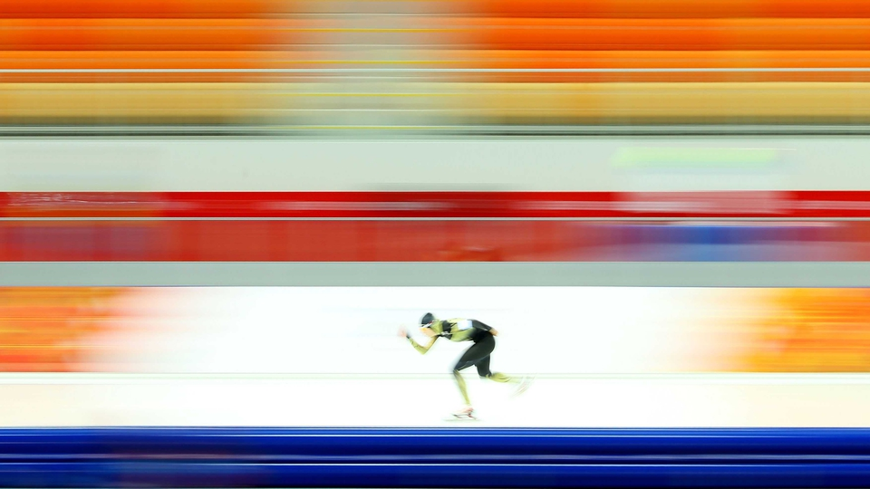 Speed Skater Ayaka Kikuchi of Japan at the Winter Olympics at Adler Arena Skating Center in Sochi, Russia