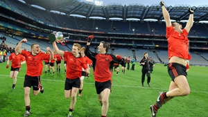 Truagh Gaels players celebrate with the cup at the end of the All Ireland Intermediate Club Championship final at Croke Park