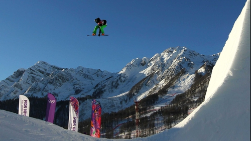 Seamus O'Connor represents Ireland in the Snowboard Men's Slopestyle at the Winter Olympics in Sochi, Russia