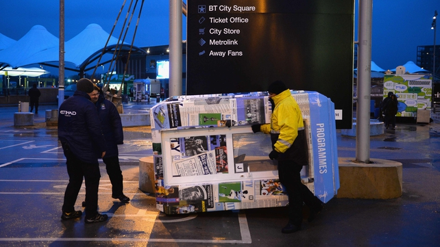 High winds forced the postponement at the Etihad Stadium