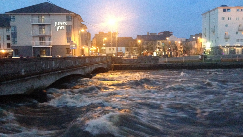 The waters at Spanish Arch in Galway this afternoon