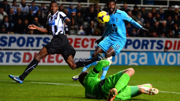 Emmanuel Adebayor scored on the double for Tottenham