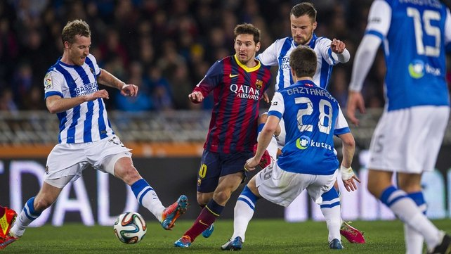 Lionel Messi scored the only goal for the visitors in Donostia