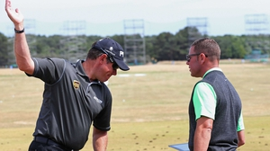 Lee Westwood (l) is now ranked 33rd
