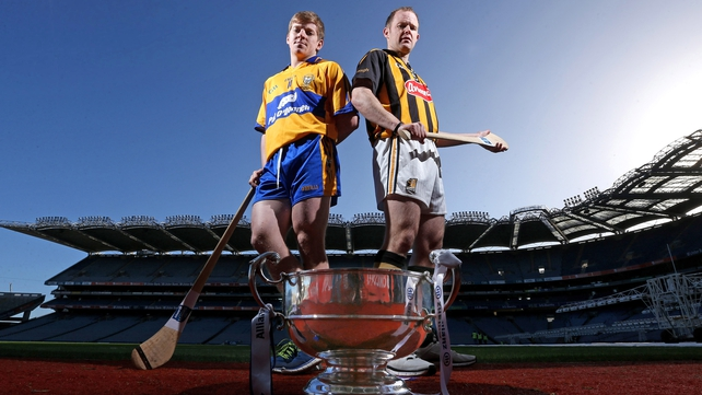 Clare's Padraic Collins and Tommy Walsh of Kilkenny at the league launch this week