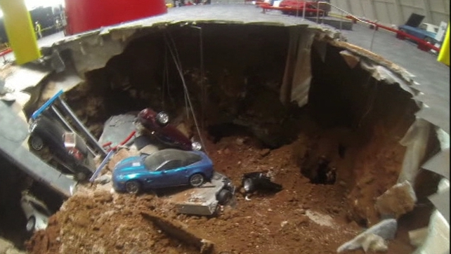 The sinkhole, measuring 12 metres wide and up to nine metres deep, opened up early yesterday morning