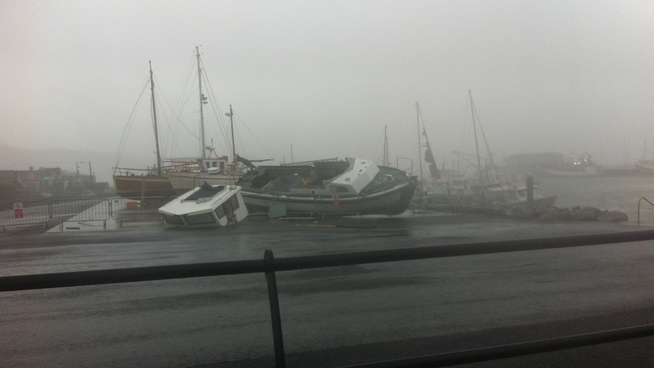 Boats damaged by the storm at the marina in Dingle (Pic: Stephen Daly)