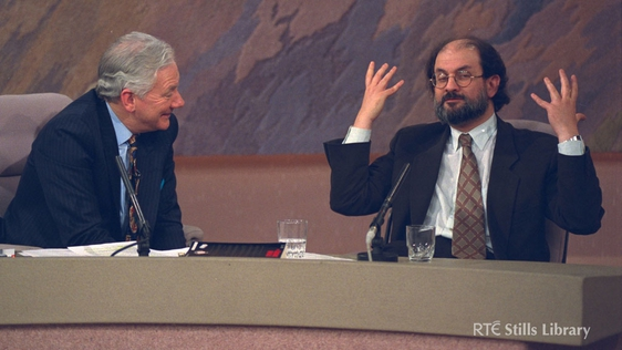 Gay Byrne and Salman Rushdie in The Late Late Show studio (1993)
