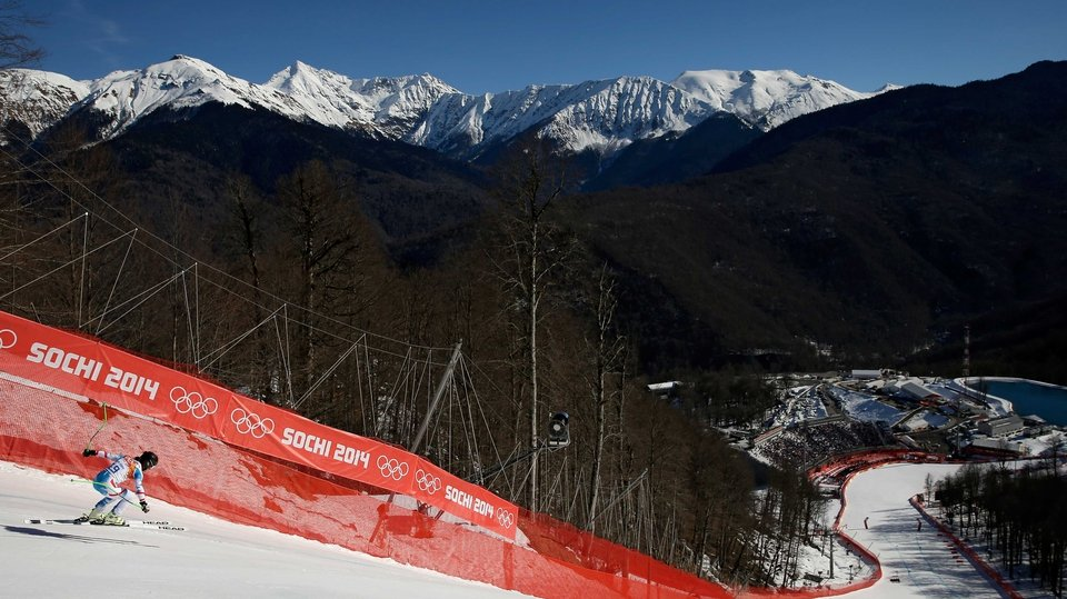 Elisabeth Goergl of Austria has no time to take in the view as she competes at the women's downhill in Sochi