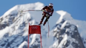 Natko Zrncic-Dim of Croatia competes during the Alpine Skiing Men's Super Combined Downhill on day 7 of the Sochi 2014 Winter Olympics
