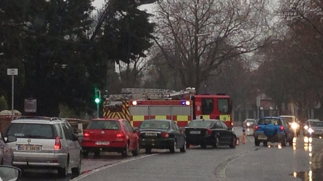 Traffic tailback on the Merrion Road in Dublin after a tree came down on power lines