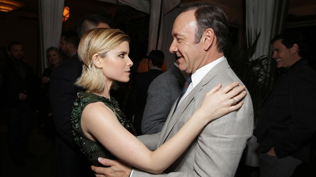 Kate Mara and Kevin Spacey enjoy a dance at the House of Cards S2 launch party party in Los Angeles