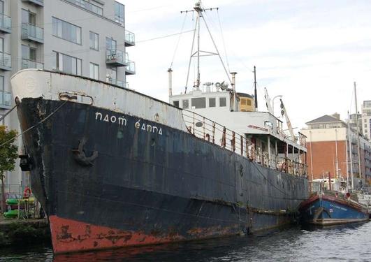 Daithí Ofeldt, ón gcomhlacht ISBF & Beartla Beatty, iaroibrí ar an MV. Naomh Éanna as Cill Rónáin.