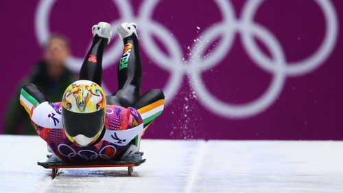 Sean Greenwood took a heavy crash in the skeleton event