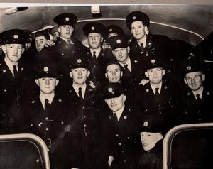 Young gardaí pose on the 'Templemore Special' train (Pic: An Garda Síochána)