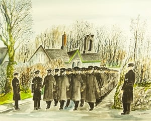 Recruits march from the railway station 14 Fabruary 1964 (Painting by Joe Barry)