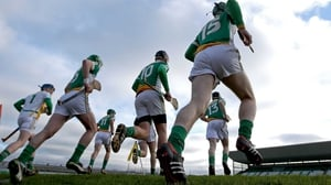 The Offaly team run out at O'Connor Park before their Walsh Cup game with Galway last month