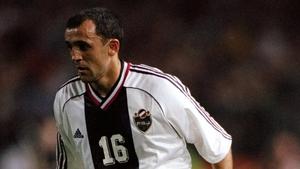 Ljubinko Drulovic in action in a European Championships qualifier against Ireland in 1999