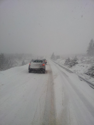 50 drivers were stranded for up to three hours on the Meenaroy Road between Letterkenny and Glenties (Pic: Harry Walsh)