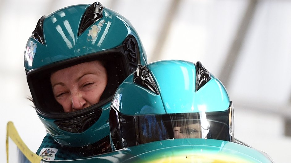 Astrid Radjenovic of Australia grimaces as her two-woman bobsleigh takes a practice run during a training session at the Sanki Sliding Centre in Sochi.