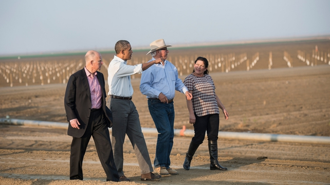 Barack Obama visited drought-hit areas of California yesterday